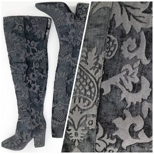 NWOT NINE WEST Thigh High Patterned Black Boots